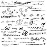 Collection of individual hand drawn elements Royalty Free Stock Photography