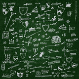 Collection of individual hand drawn elements Royalty Free Stock Image