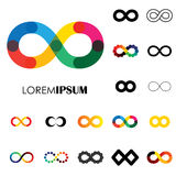 Collection of infinity symbols - vector logo icons Stock Photography