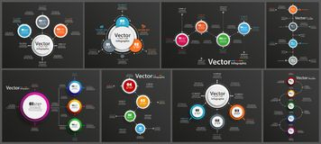 Collection of infographic on black background can be used for workflow layout, diagram, number options, web design. Infographic business concept with options stock illustration