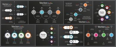 Collection of infographic on black background can be used for workflow layout, diagram, number options, web design. Infographic business concept with options vector illustration