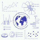 Collection of infographic charts. Isolated vector illustration Stock Images