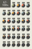 Collection of infographic percentage circle charts. 67% to 100%. Vector isolated elements Royalty Free Stock Photos