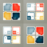 Collection of Infographic Templates for Business. Four steps cycling diagrams. Vector Illustration. Royalty Free Stock Image