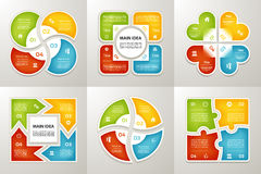 Collection of Infographic Templates for Business. Four steps cycling diagrams. Vector Illustration. Royalty Free Stock Photography