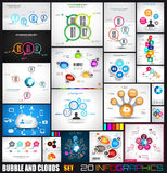 Collection of 20 Infographics with bubbles and clouds. Flat style UI design elements for your business projects, seo diagrams and solution ranking vector illustration