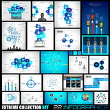 Collection of 22 Infographics for social media and clouds Royalty Free Stock Photo