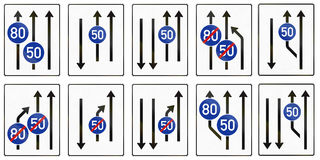 Collection of information signs about lanes with minimum speeds used in Germany Royalty Free Stock Photos