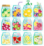 Collection of Infused water with fresh fruit Stock Photo