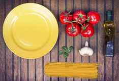 A collection of ingredients for spaghetti Stock Images