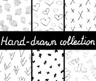 Collection of ink hand drawn seamless patterns.Vector illustration Royalty Free Stock Photo