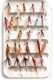 Collection of Insect-Looking Fishing Lure or Fishhooks Royalty Free Stock Photography
