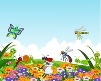 Collection of insects in the flower garden Royalty Free Stock Images