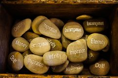 A Collection of Inspirational Stones with the words Destiny, Mon. A Collection of Inspirational Stones in an old wooden box with the words Destiny, Money stock photo