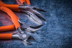 Collection of insulated cutting pliers gripping tongs with rubbe Royalty Free Stock Photo