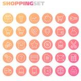 Collection intégrée d'icônes d'achats Image libre de droits