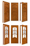 Collection of interior wooden doors Royalty Free Stock Photos