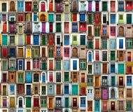 Collection of international colorful doors royalty free stock photography
