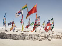 Collection of International Flags in the Bolivian Desert Stock Photos