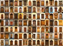 Collection of international wooden doors royalty free stock photography