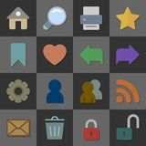 Collection of internet icons, color flat design Stock Images