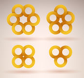 Collection of intersecting ribbons. Creating different numbers of circles royalty free illustration