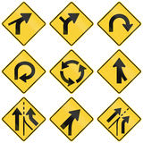 Collection of Intersection warning signs used in the USA Royalty Free Stock Photo