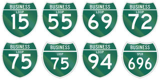 Collection of Interstate business loop and business spur shields used in the US.  Vector Illustration