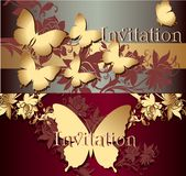 Collection of invitation cards with butterflies Royalty Free Stock Images