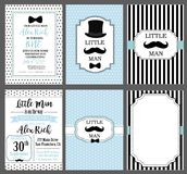 Collection of invite cards can be use for partybaby shower, father`s day, wedding, birthday Little man vintage style. A set of blue, white and black templates Royalty Free Stock Image