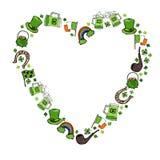 Collection of Irish symbols. Heart shape background. Leprechauns Hat, Horseshoe, Pot of gold, Flag, Beer Mug, Rainbow, Clover. St. Royalty Free Stock Photo