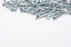 A Collection Of Iron Screws, Nuts and Lockwashers Above Royalty Free Stock Images