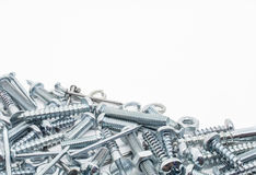 A Collection Of Iron Screws, Nuts and Lockwashers Below Stock Photos