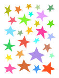 Collection of irregular stars hand-drawn over white. Collection of irregular stars hand-drawn on white Stock Photo
