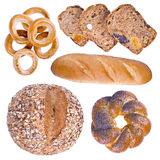 Collection of isolated bakery products Royalty Free Stock Photo