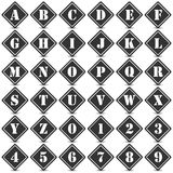Collection of 36 isolated black and white icons on white background with shadows - alphabet and numerals. Computer generated collection of 36 isolated black and Royalty Free Stock Photos