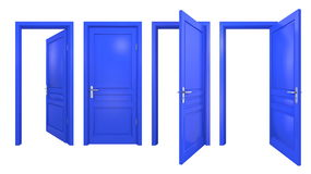 Collection of isolated blue doors Stock Photo