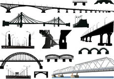 Collection of isolated bridges Royalty Free Stock Photography