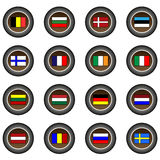 Collection of 16 isolated brown buttons (icons) - European flags Stock Photo
