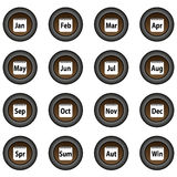 Collection of 16 isolated brown buttons (icons) - 12 months in year, 4 seasons Royalty Free Stock Images