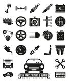 Car parts, service and repair glyph icon set Royalty Free Stock Photography