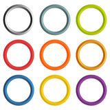 Collection of 9 isolated circle frames with white copyspace Royalty Free Stock Photography