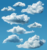 Collection of isolated clouds Royalty Free Stock Photos