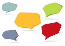 Collection of 5 isolated colorful 3D speech bubbles. Set of 5 isolated colorful 3D speech bubbles with shadow stock illustration