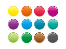 Collection of 12 isolated colorful round buttons. Set of 12 isolated colorful round buttons in classic colors isolated on white Royalty Free Stock Image