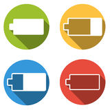 Collection of 4 isolated flat colorful buttons for battery Royalty Free Stock Image