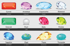 Collection of isolated gemstones by month, no gradients Royalty Free Stock Image