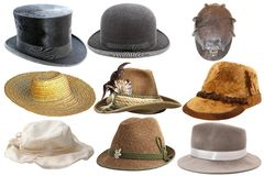 Collection of isolated hats Royalty Free Stock Photography