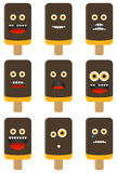 Collection of 9 isolated ice cream emoticons Royalty Free Stock Images