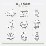 Collection of isolated  line icons with sleep problems and insomnia symbols Stock Photos
